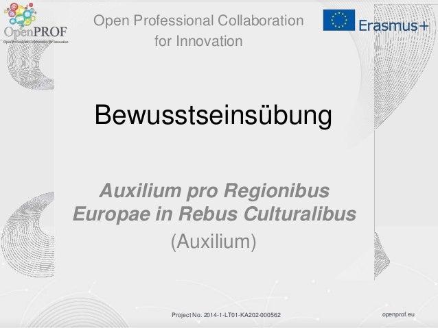 openprof.euProject No. 2014-1-LT01-KA202-000562 Bewusstseinsübung Auxilium pro Regionibus Europae in Rebus Culturalibus (A...