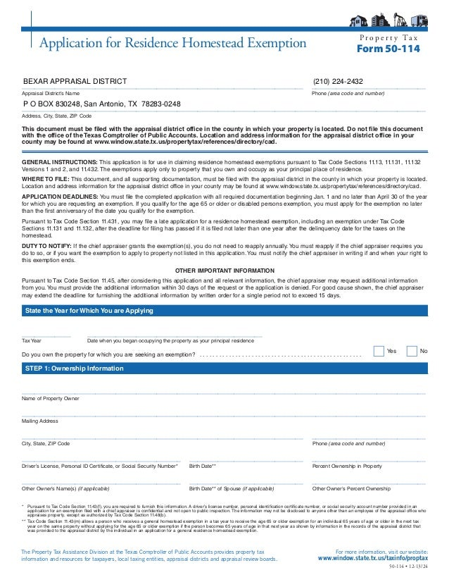Bexar cad homestead exemption