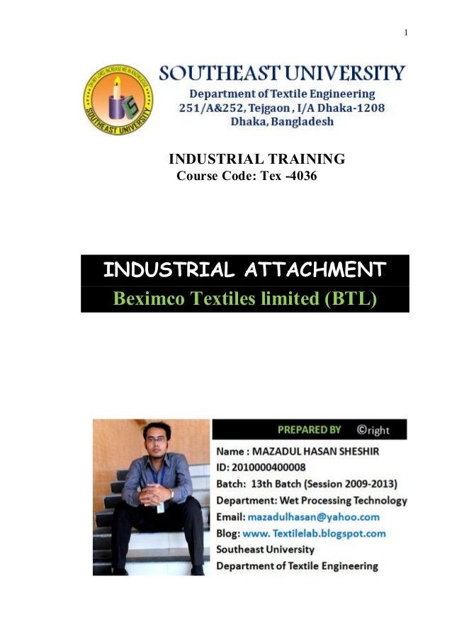 Industrial Attachment of Beximco textiles limited (btl)