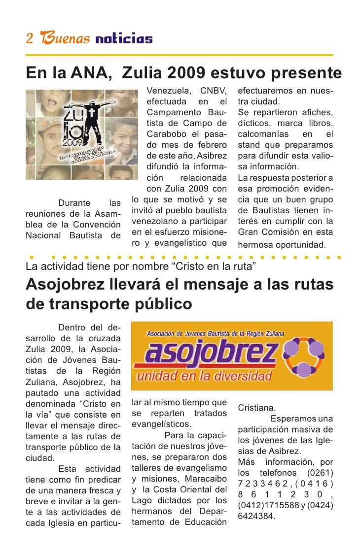 2 Buenas noticias En la ANA, Zulia 2009 estuvo presente                                  Venezuela, CNBV,       efectuarem...
