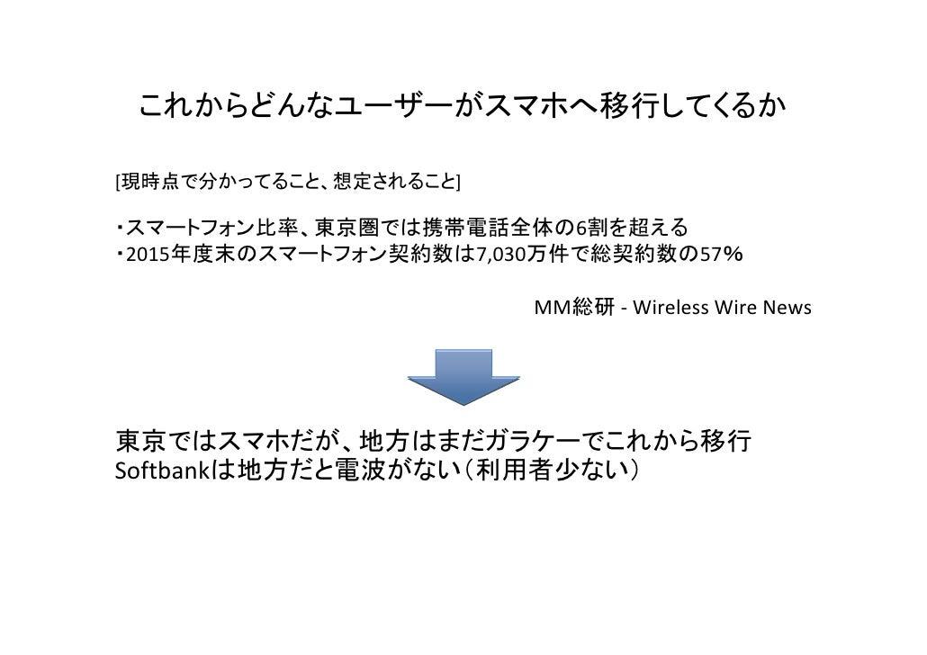 これからどんなユーザーがスマホへ移行してくるか[現時点で分かってること、想定されること]・スマートフォン比率、東京圏では携帯電話全体の6割を超える・2015年度末のスマートフォン契約数は7,030万件で総契約数の57%             ...