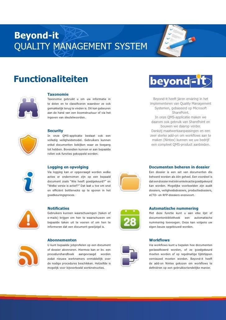 Beyond-itQUALITY MANAGEMENT SYSTEMFunctionaliteiten       Taxonomie       Taxonomie gebruikt u om uw informatie in        ...
