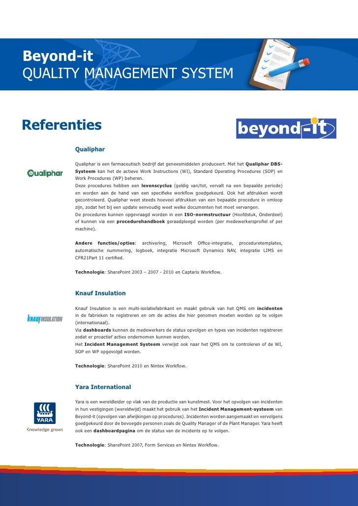 Beyond-itQUALITY MANAGEMENT SYSTEMReferenties       Qualiphar       Qualiphar is een farmaceutisch bedrijf dat geneesmidde...
