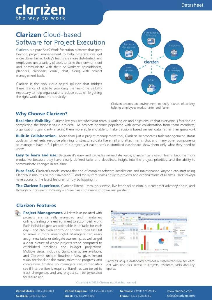Datasheetthe way to workClarizen Cloud-based                                                                              ...
