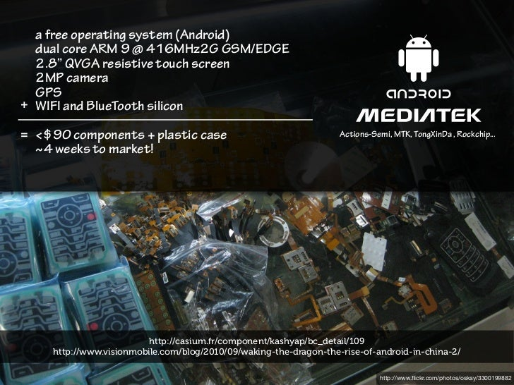 """a free operating system (Android)  dual core ARM 9 @ 416MHz2G GSM/EDGE  2.8"""" QVGA resistive touch screen  2MP camera  GPS+..."""
