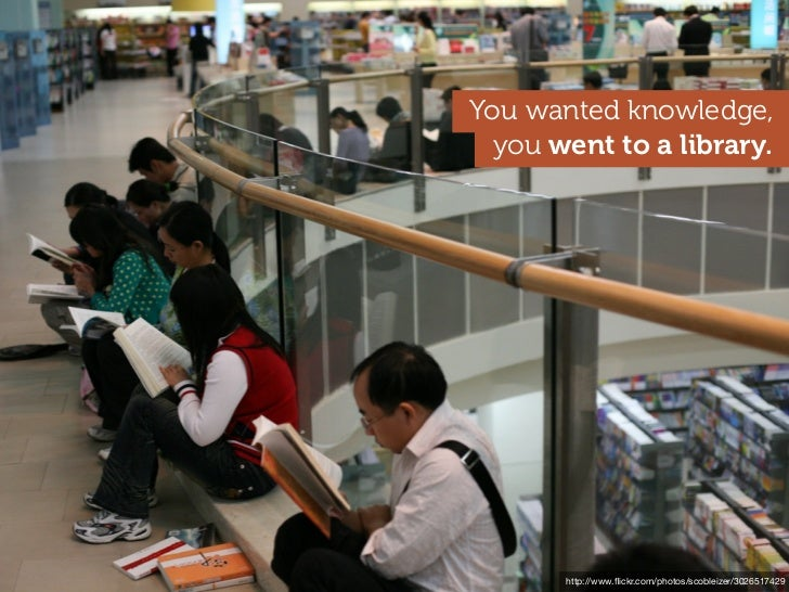 You wanted knowledge,  you went to a library      http://www.flickr.com/photos/ccacnorthlib/3554627364        http://www.fli...