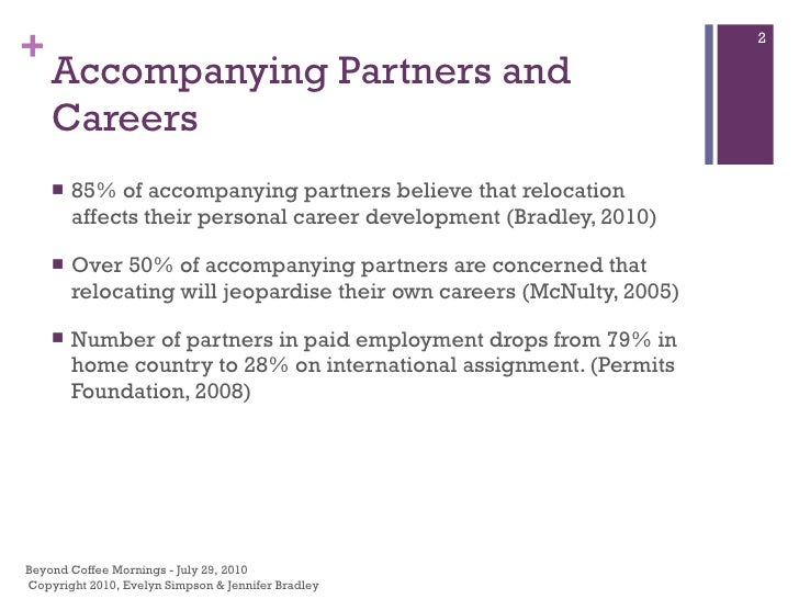 Accompanying Partners and Careers <ul><li>85% of accompanying partners believe that relocation affects their personal care...