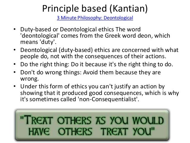 duty based ethics Ethics and the internet duty- based ethical theory (deontology) introduction duty-based ethical theory is also called deontology deon means duty or.