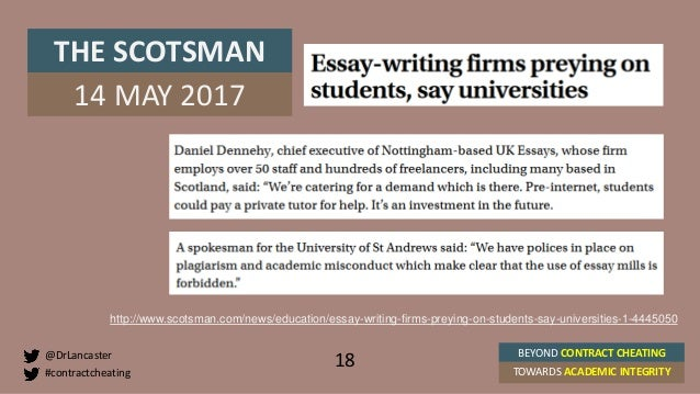 beyond contract cheating towards academic integrity st andrews t  18 18 contractcheating drlancaster beyond contract cheating towards academic