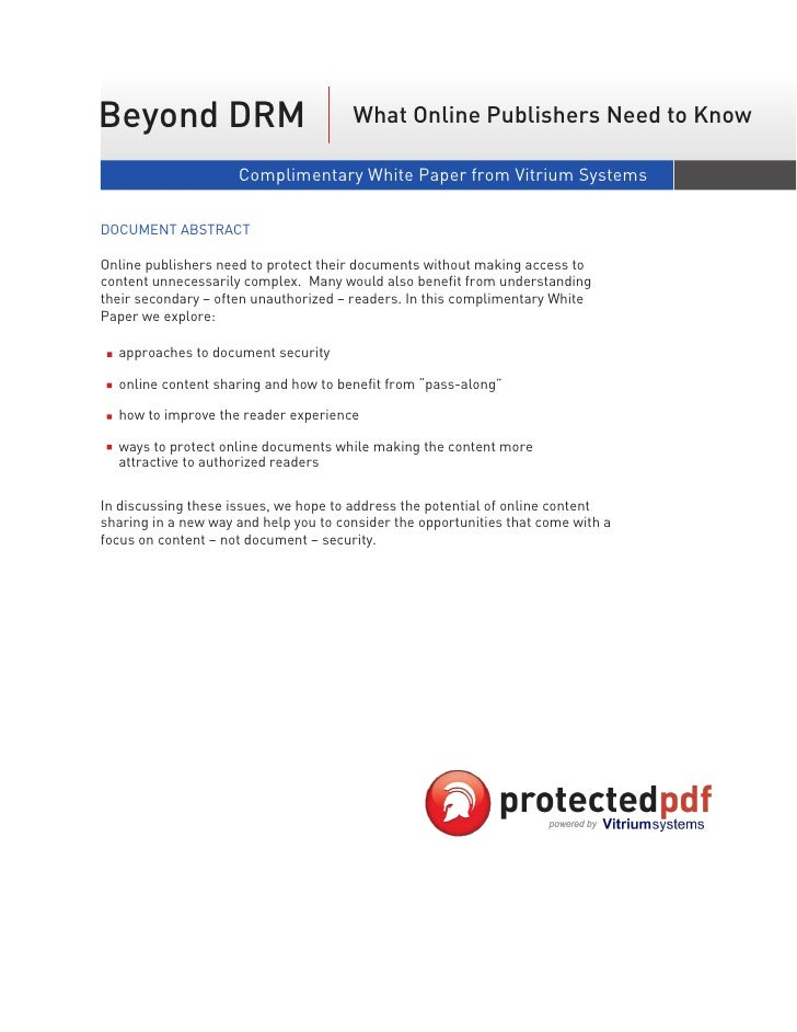 Beyond DRM                             What Online Publishers Need to Know                       Complimentary White Paper...