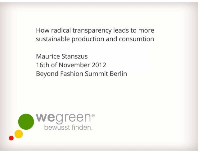 WeGreen Präsentation auf der Beyond Fashion Summit 2012 Berlin