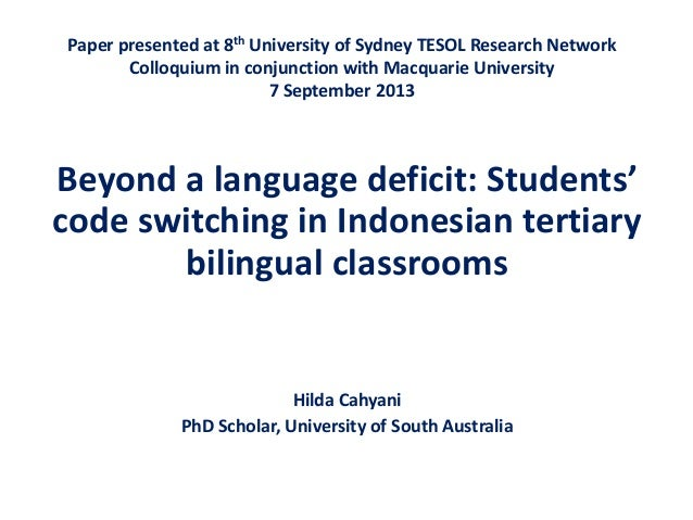 Paper presented at 8th University of Sydney TESOL Research Network Colloquium in conjunction with Macquarie University 7 S...
