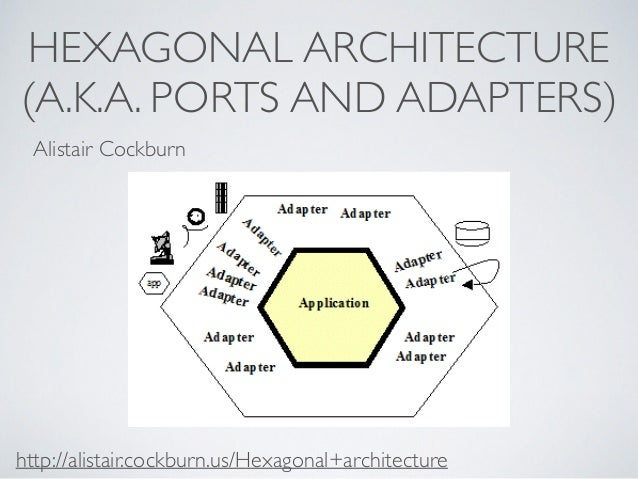 HEXAGONAL ARCHITECTURE  (A.K.A. PORTS AND ADAPTERS)  Alistair Cockburn  http://alistair.cockburn.us/Hexagonal+architecture