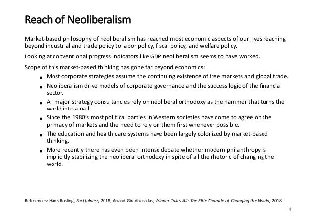 Reach of Neoliberalism Market-based philosophy of neoliberalism has reached most economic aspects of our lives reaching be...
