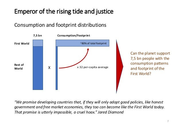 Emperor of the rising tide and justice Consumption and footprint distributions 7 First World Rest of World 7,5 bn Consumpt...