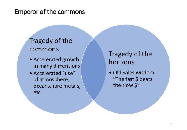 """Emperor of the commons 9 Tragedy of the commons • Accelerated growth in many dimensions • Accelerated """"use"""" of atmosphere,..."""