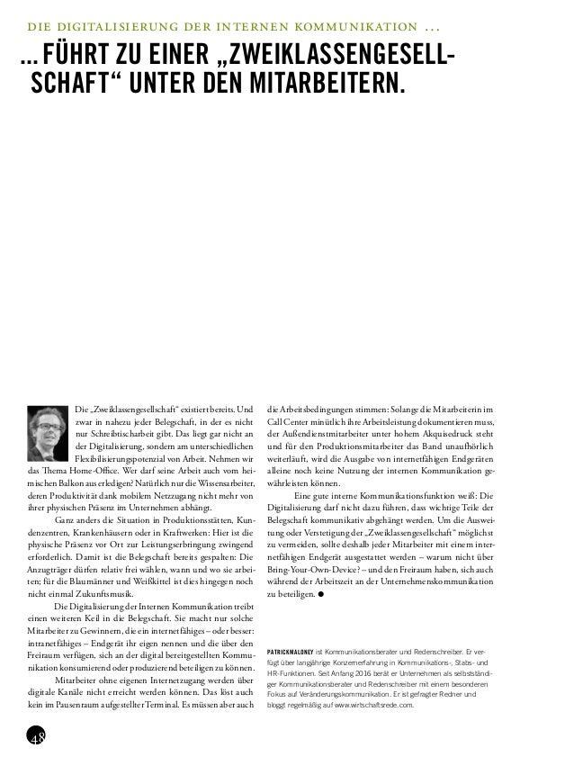 """die digitalisierung der internen kommunikation … ...führt zu einer """"ZweiKlassengesell- schaft"""" unter den Mitarbeitern. Di..."""