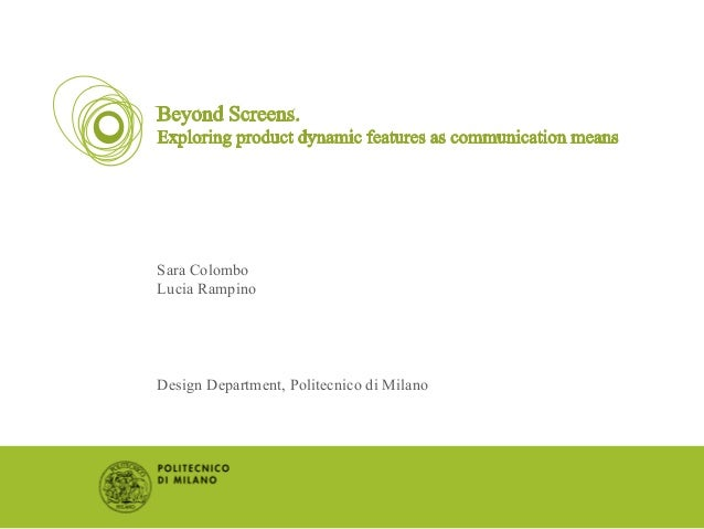 Sara Colombo Lucia Rampino Design Department, Politecnico di Milano