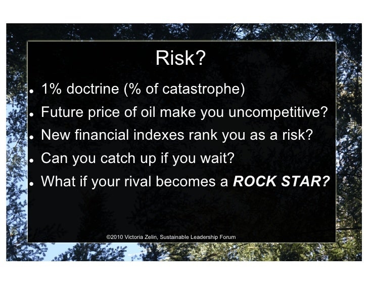 Risk?    1% doctrine (% of catastrophe)    Future price of oil make you uncompetitive?    New financial indexes rank...