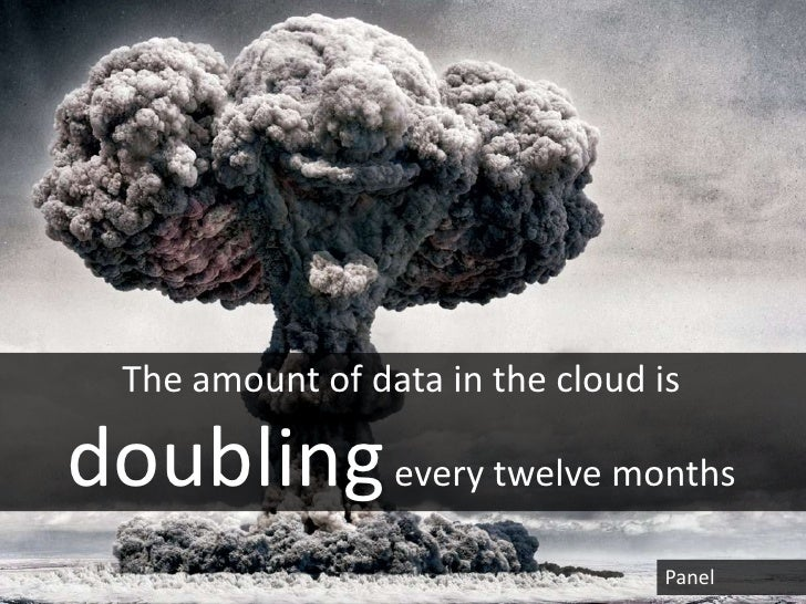 The amount of data in the cloud isdoubling every twelve months                                   Panel
