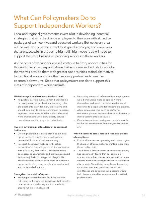 20Beyond the Gig Economy | 2016 What Can Policymakers Do to Support Independent Workers? Local and regional governments in...