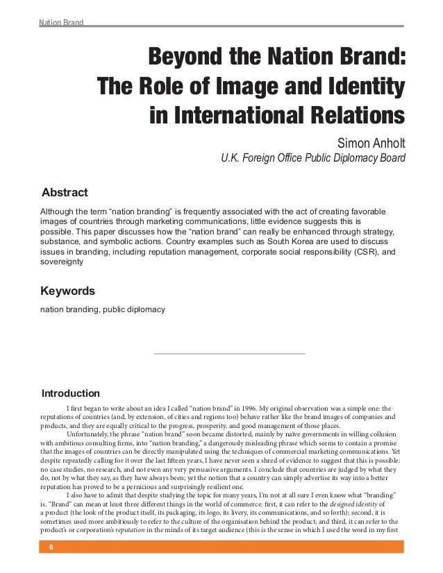 """!""""#$%&()""""&*                          Beyond the Nation Brand:                     The Role of Image and Identity          ..."""