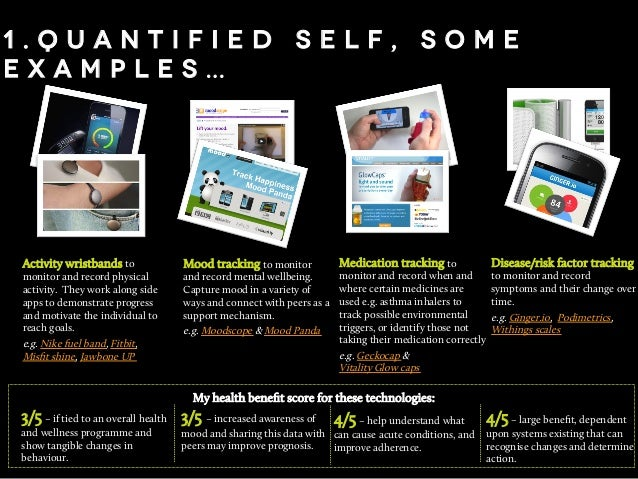 1 . Q u a n t i f i e d s e l f , s o m e e x a m p l e s … Activity wristbands to monitor and record physical activity. T...