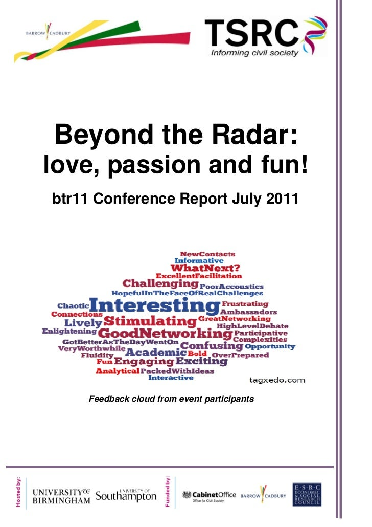 a    Beyond the Radar:    love, passion and fun!    btr11 Conference Report July 2011        Feedback cloud from event par...