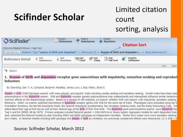 Scifinder ScholarLimited citationcountsorting, analysisSource: Scifinder Scholar, March 2012Get cited documentsCitation Sort