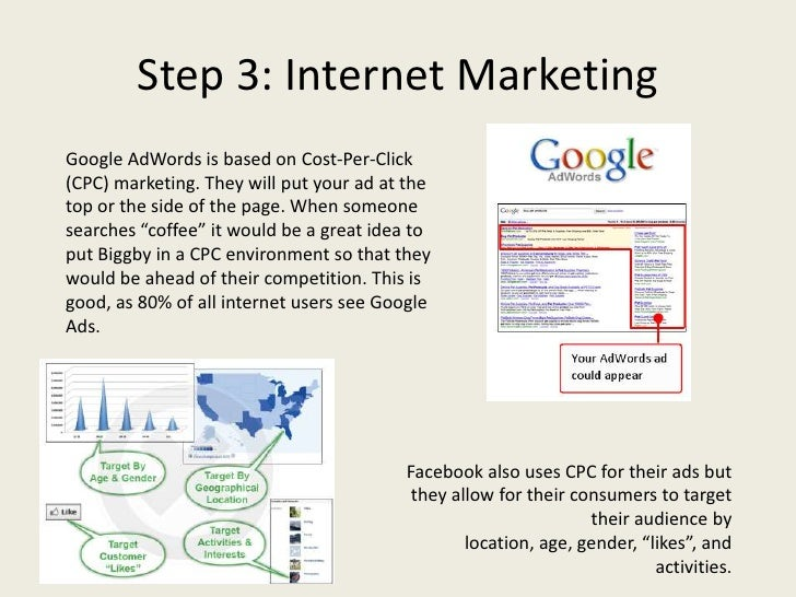 Step 3: Internet MarketingGoogle AdWords is based on Cost-Per-Click(CPC) marketing. They will put your ad at thetop or the...