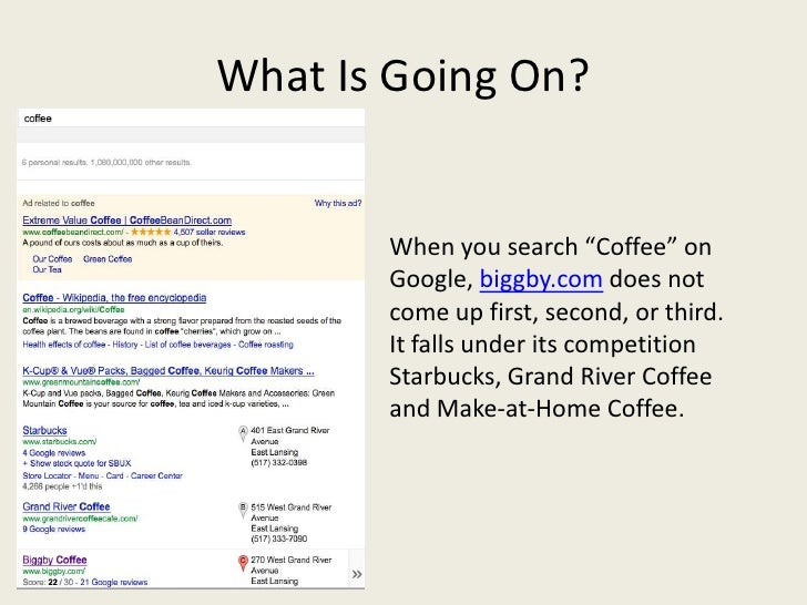 """What Is Going On?       When you search """"Coffee"""" on       Google, biggby.com does not       come up first, second, or thir..."""