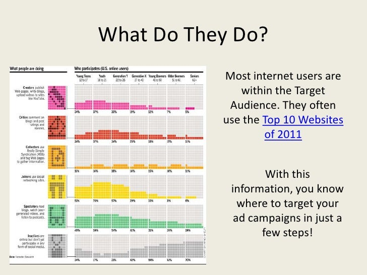 What Do They Do?           Most internet users are              within the Target            Audience. They often         ...