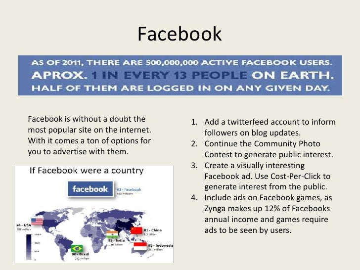 FacebookFacebook is without a doubt the      1. Add a twitterfeed account to informmost popular site on the internet.     ...
