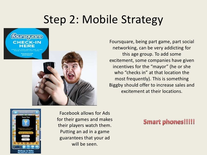Step 2: Mobile Strategy                          Foursquare, being part game, part social                            netwo...