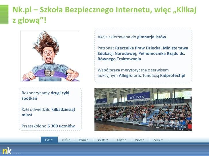 """Nk.pl – Szkoła Bezpiecznego Internetu, więc """"Klikaj z głową""""! Akcja skierowana do  gimnazjalistów  Patronat  Rzecznika Pra..."""