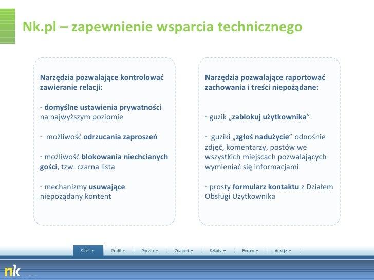 Nk.pl – zapewnienie wsparcia technicznego <ul><li>Narzędzia pozwalające kontrolować zawieranie relacji:  </li></ul><ul><li...