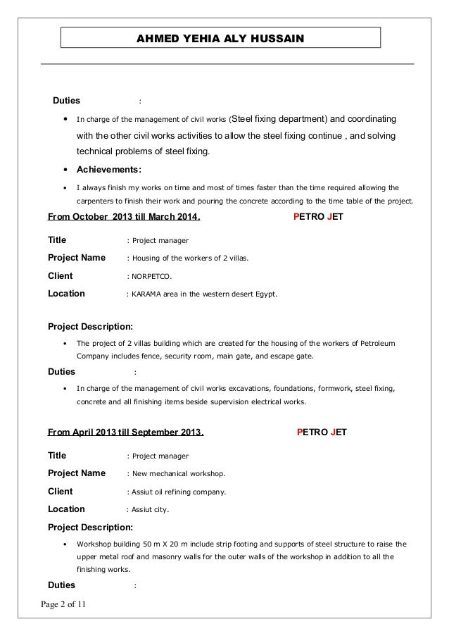 Magnificent Steel Fixing Resume Model - Example Resume Ideas ...