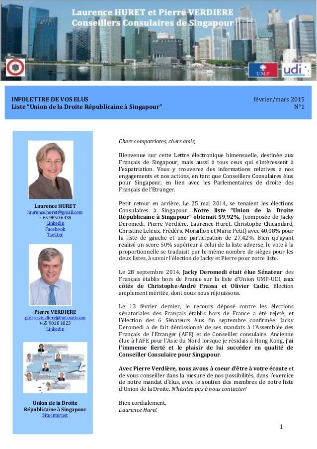 InfoLettre N°1 de Laurence Huret et Pierre Verdiere février/mars 2015 1 INFOLETTRE DE VOS ELUS février/mars 2015 Liste  ...