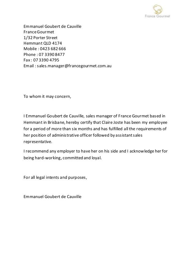 letter of recommendation france gourmet sales manager
