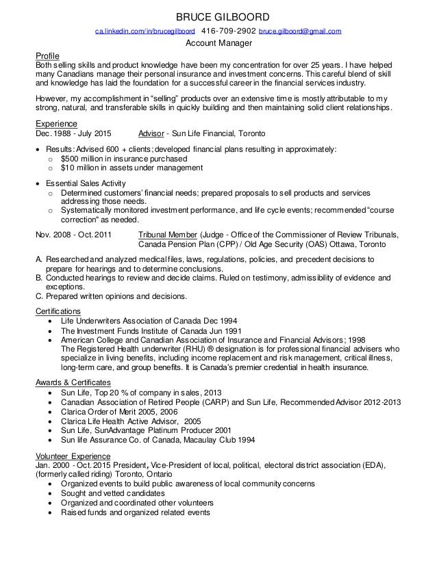 Resume for Account Manager from Bruce Gilboord.
