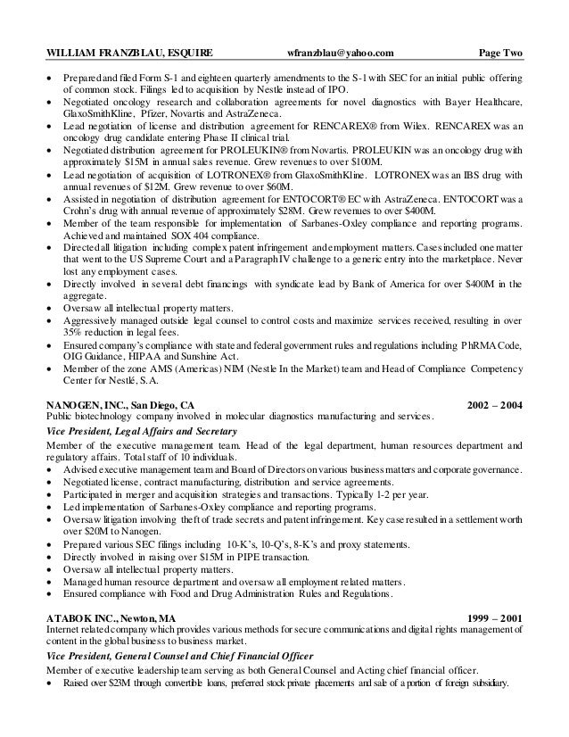 in house counsel resumes