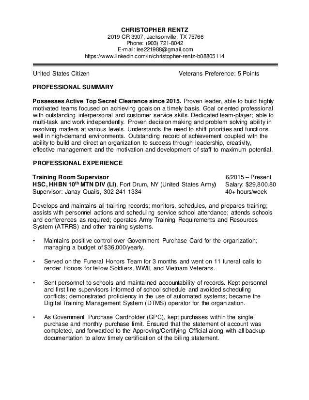 Lee Rentz Federal Resume