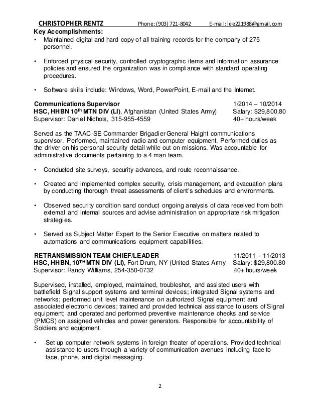 Lee Rentz Federal Resume
