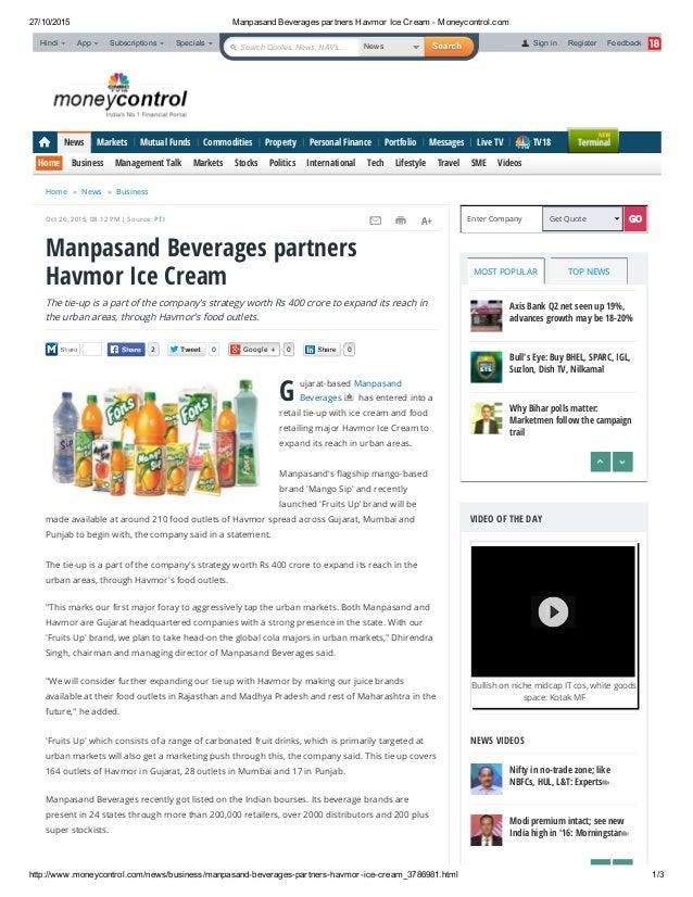 Manpasand Beverages partners Havmor Ice Cream - Moneycontrol