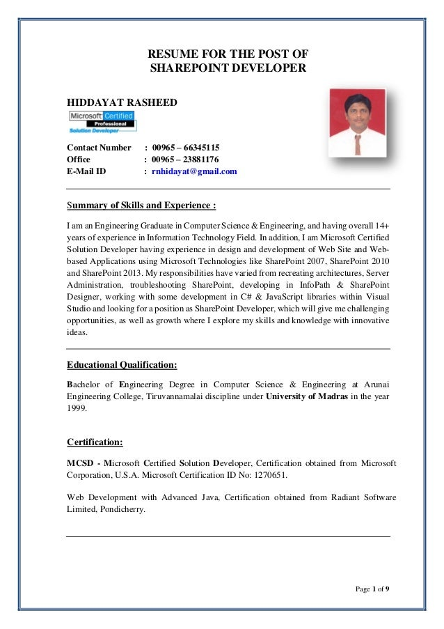 Hiddayat Resume Sharepoint Developer