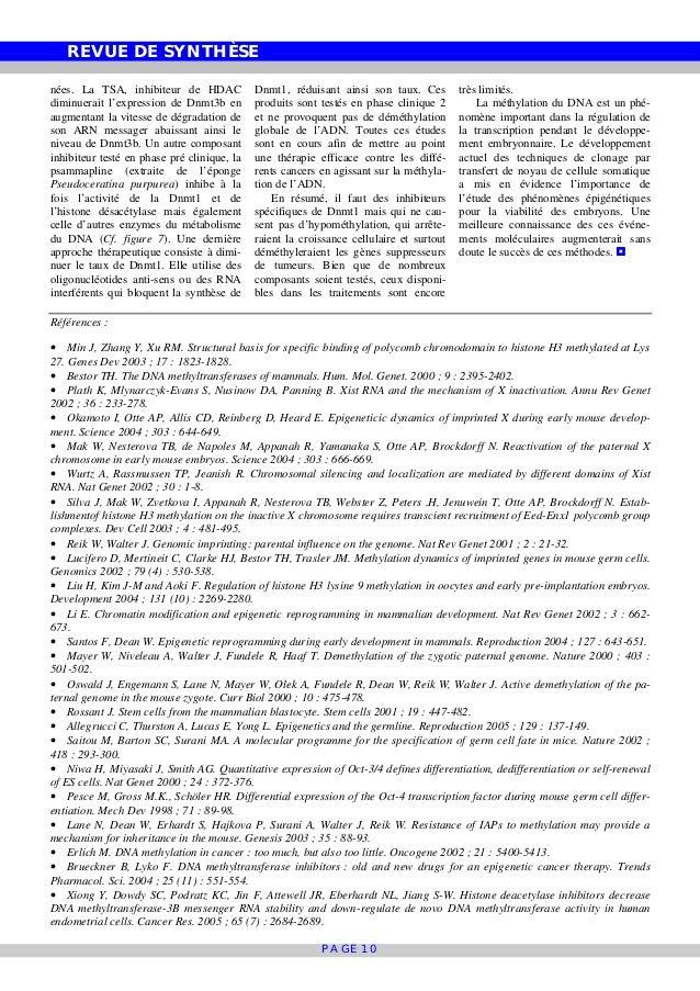 REVUE DE SYNTHÈSE PAGE 10 nées. La TSA, inhibiteur de HDAC diminuerait l'expression de Dnmt3b en augmentant la vitesse de ...