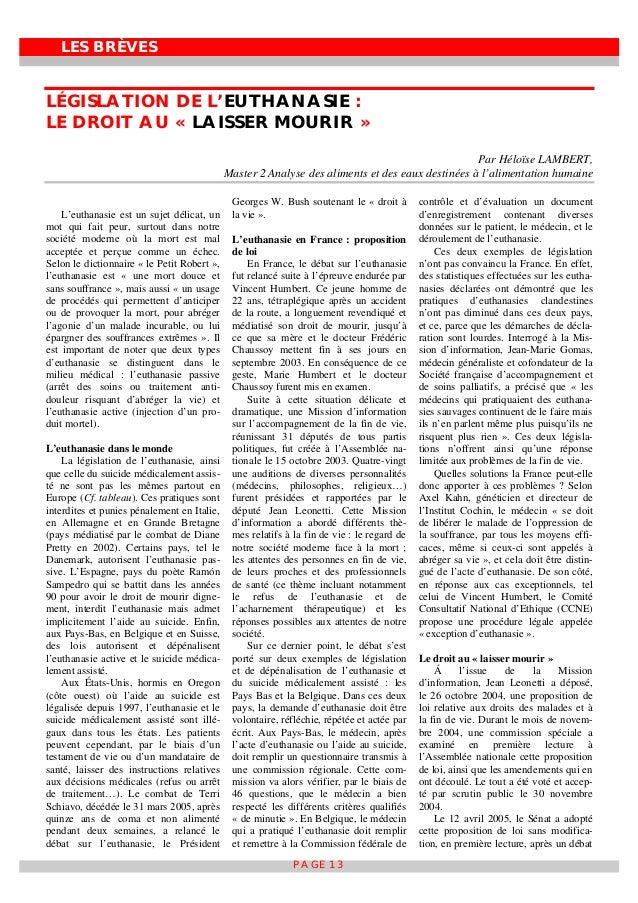 LES BRÈVES PAGE 13 LÉGISLATION DE L'EUTHANASIE : LE DROIT AU « LAISSER MOURIR » Par Héloïse LAMBERT, Master 2 Analyse des ...