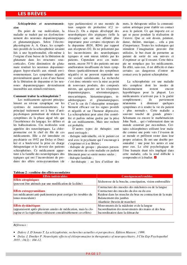 LES BRÈVES PAGE 17 Schizophrénie et neurotransmis- sion Du point de vue moléculaire, la maladie se traduit par un dysfonct...