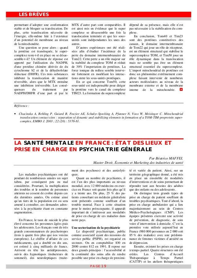 LES BRÈVES PAGE 19 permettant d'adopter une conformation stable et de bloquer sa translocation. De plus, cette translocati...