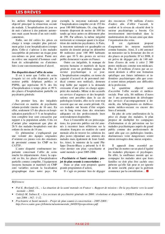 LES BRÈVES PAGE 20 les ateliers thérapeutiques ont pour objectif principal la réinsertion sociale du malade. L'hospitalisa...